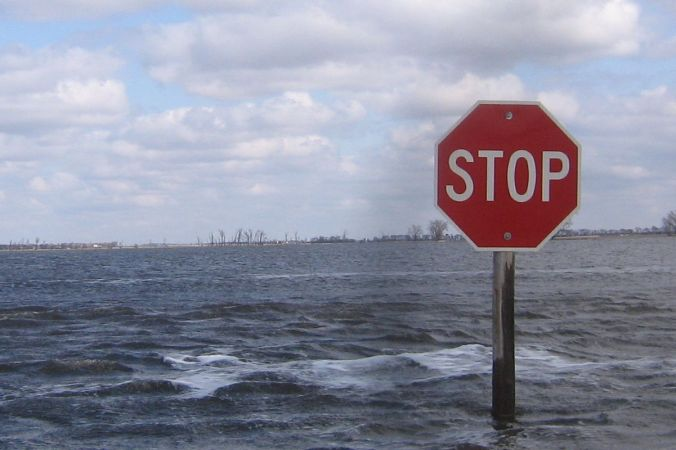 Stop sign in water