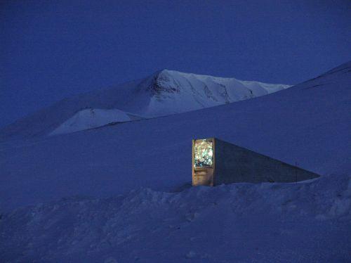 Global Seed Vault at night