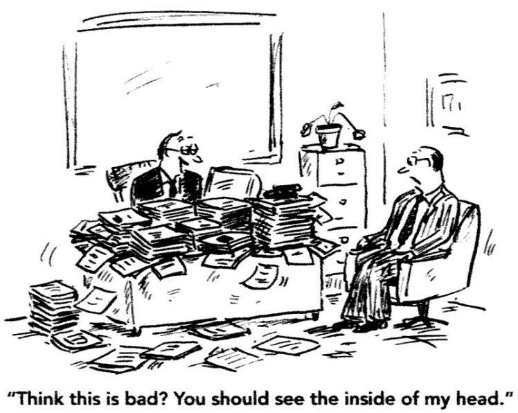 Messy desk cartoon