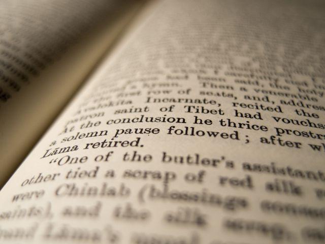 close up inside of a book